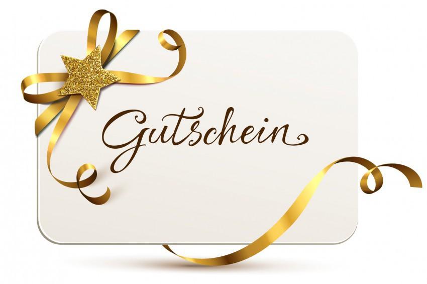 Gutscheinkarte mit goldener Schleife und Glitter-Stern